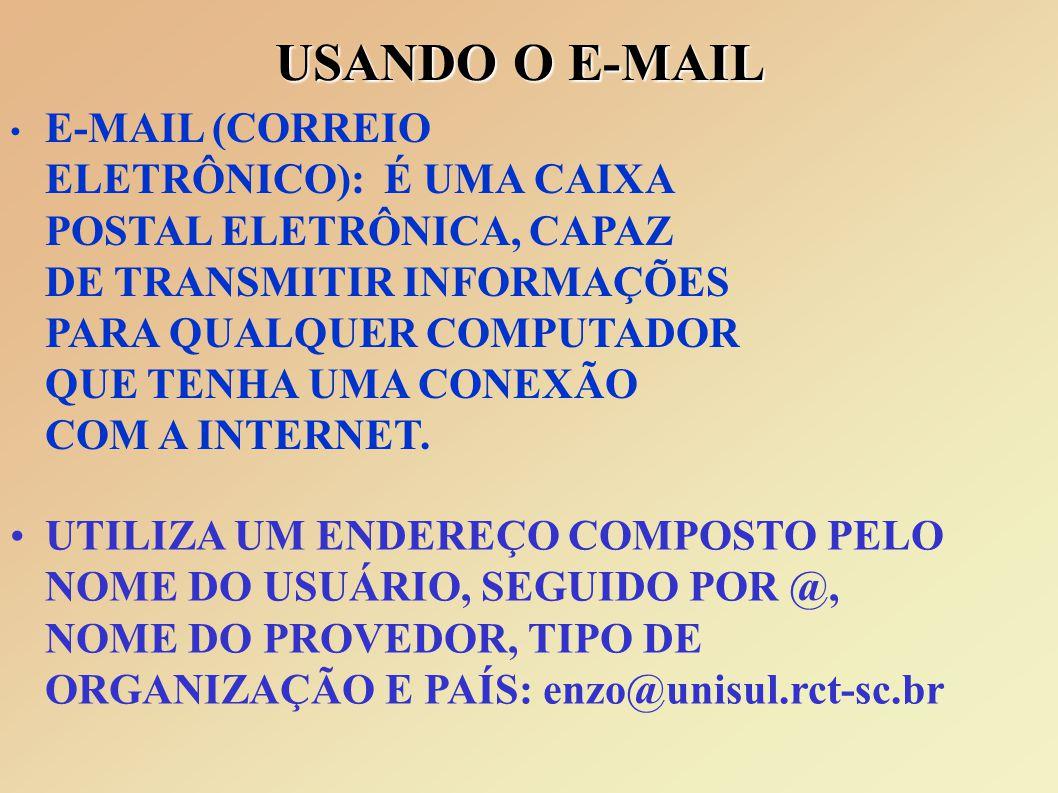 USANDO O E-MAIL E-MAIL (CORREIO ELETRÔNICO): É UMA CAIXA POSTAL ELETRÔNICA, CAPAZ DE TRANSMITIR INFORMAÇÕES PARA QUALQUER COMPUTADOR QUE TENHA UMA CONEXÃO COM A INTERNET.