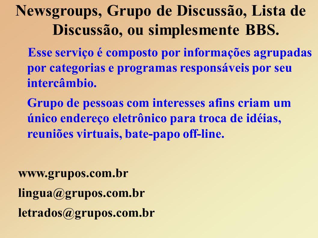 Newsgroups, Grupo de Discussão, Lista de Discussão, ou simplesmente BBS.