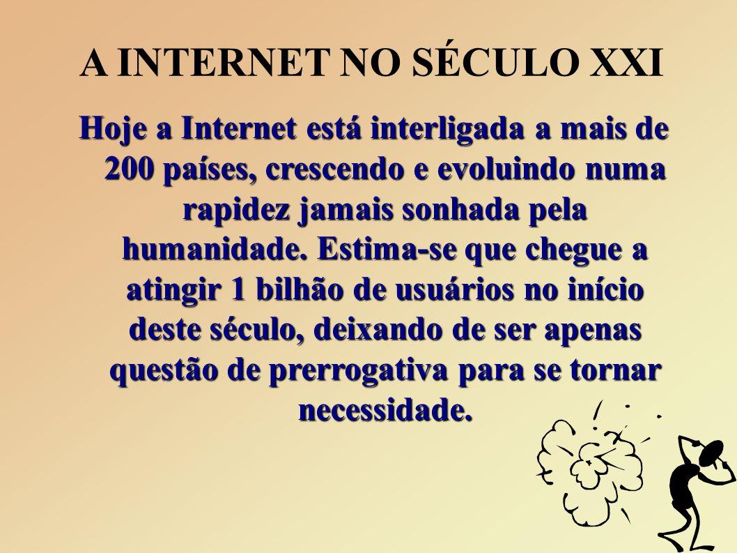 A INTERNET NO SÉCULO XXI Hoje a Internet está interligada a mais de 200 países, crescendo e evoluindo numa rapidez jamais sonhada pela humanidade.