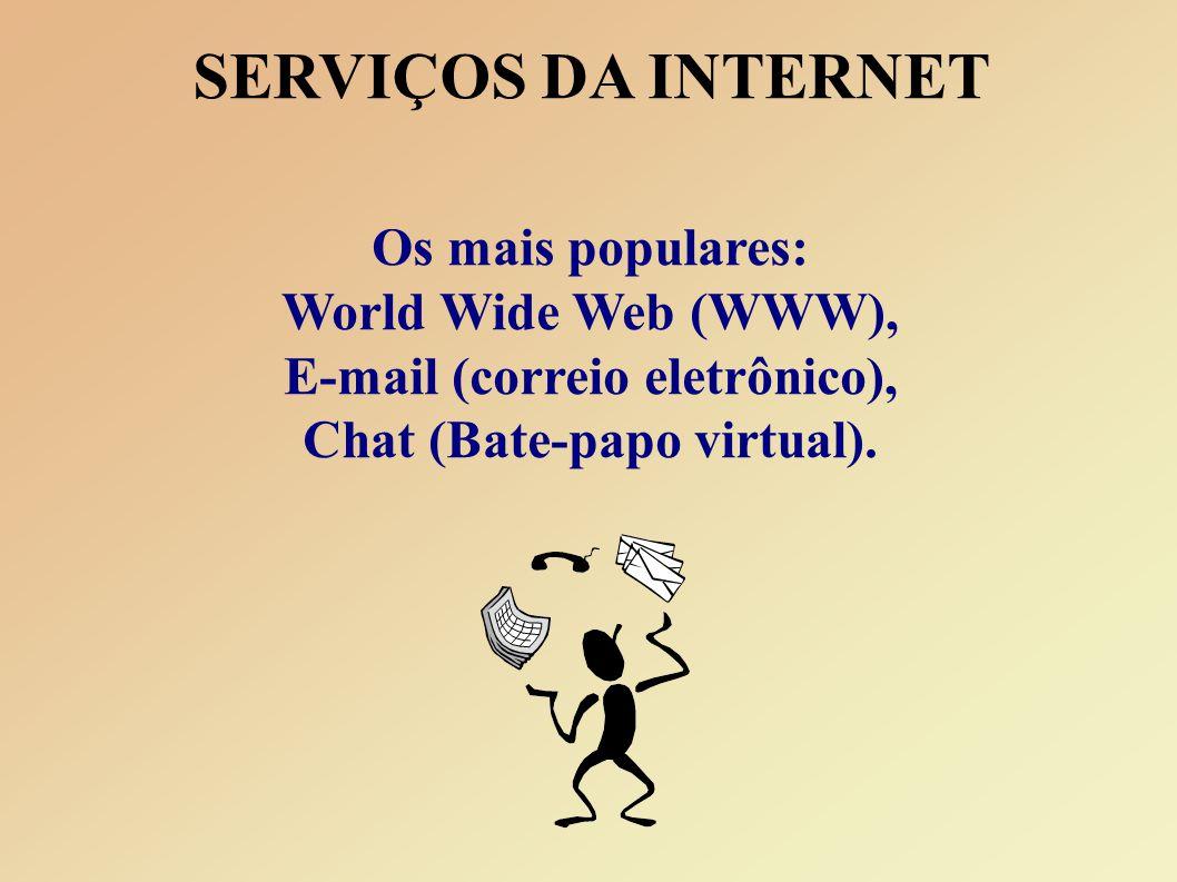 SERVIÇOS DA INTERNET Os mais populares: World Wide Web (WWW), E-mail (correio eletrônico), Chat (Bate-papo virtual).