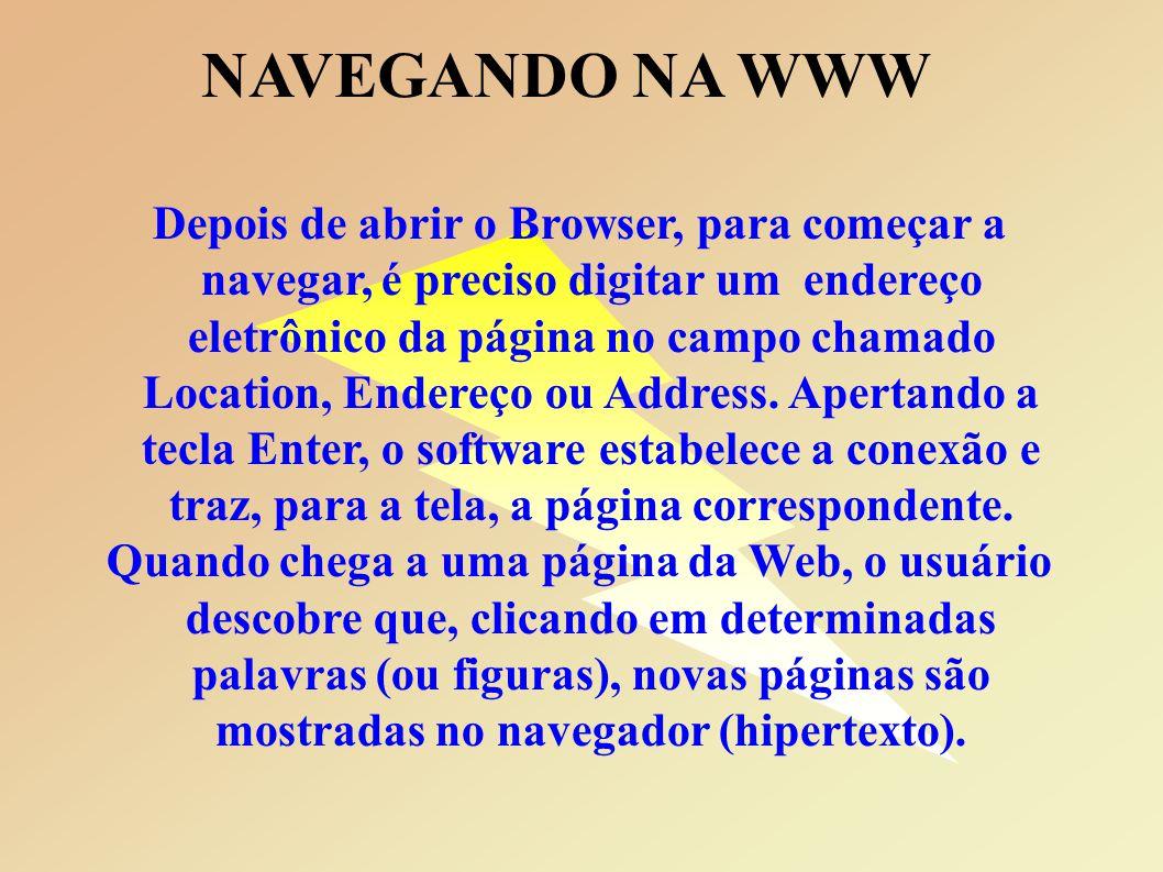 NAVEGANDO NA WWW Depois de abrir o Browser, para começar a navegar, é preciso digitar um endereço eletrônico da página no campo chamado Location, Endereço ou Address.