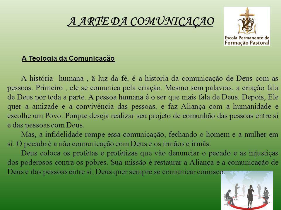 A ARTE DA COMUNICAÇAO A Teologia da Comunicação A história humana, ä luz da fé, é a historia da comunicação de Deus com as pessoas.