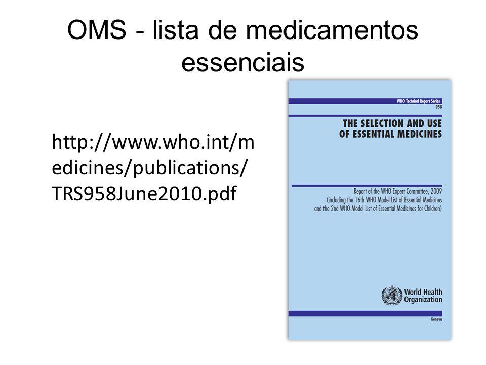 OMS - lista de medicamentos essenciais http://www.who.int/m edicines/publications/ TRS958June2010.pdf