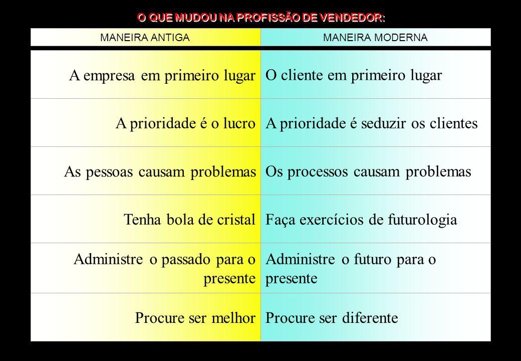O QUE MUDOU NA PROFISSÃO DE VENDEDOR: MANEIRA ANTIGAMANEIRA MODERNA A empresa em primeiro lugarO cliente em primeiro lugar A prioridade é o lucroA pri