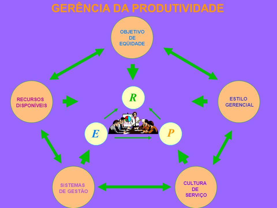 RECURSOS DISPONÍVEIS OBJETIVO DE EQÜIDADE ESTILO GERENCIAL SISTEMAS DE GESTÃO CULTURA DE SERVIÇO GERÊNCIA DA PRODUTIVIDADE E P R OBJETIVOS ACTIVIDADES PRODUCTIVIDAD RESULTADOS