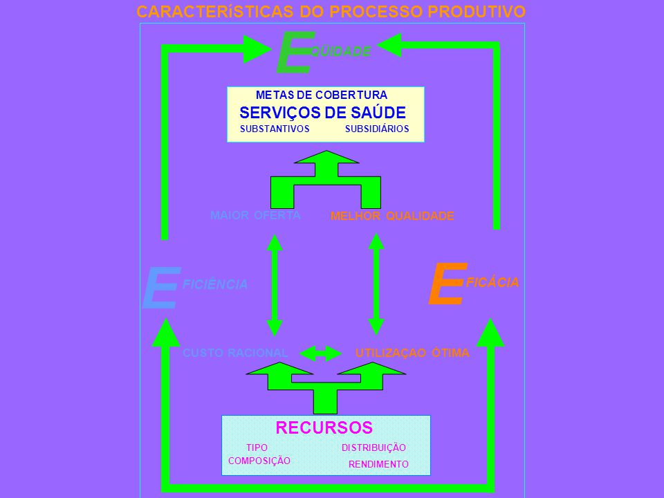 MELHOR QUALIDADE MAIOR OFERTA RENDIMENTO TIPO COMPOSIÇÃO DISTRIBUIÇÃO RECURSOS E QÜIDADE E FICÁCIA UTILIZAÇAO ÓTIMACUSTO RACIONAL FICIÊNCIA E CARACTERíSTICAS DO PROCESSO PRODUTIVO SERVIÇOS DE SAÚDE METAS DE COBERTURA SUBSTANTIVOSSUBSIDIÁRIOS