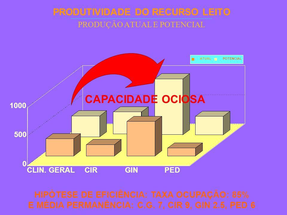 PRODUTIVIDADE DO RECURSO LEITO PRODUÇÃO ATUAL E POTENCIAL HIPÓTESE DE EFICIÊNCIA: TAXA OCUPAÇÃO: 85% E MÉDIA PERMANÊNCIA: C.G.