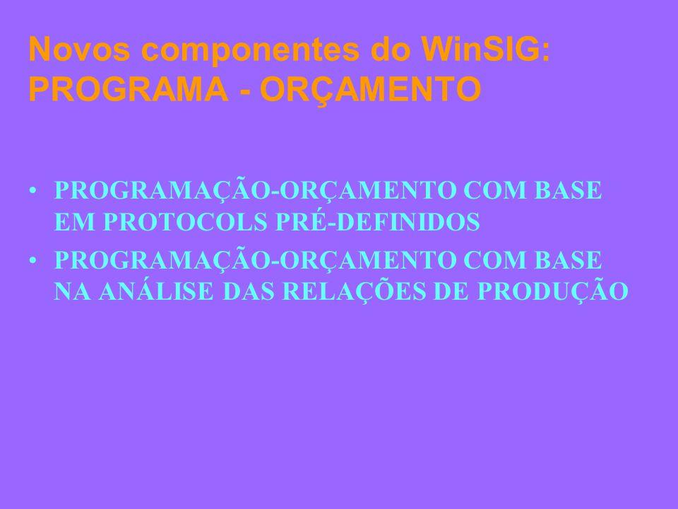 Novos componentes do WinSIG: PROGRAMA - ORÇAMENTO PROGRAMAÇÃO-ORÇAMENTO COM BASE EM PROTOCOLS PRÉ-DEFINIDOS PROGRAMAÇÃO-ORÇAMENTO COM BASE NA ANÁLISE DAS RELAÇÕES DE PRODUÇÃO