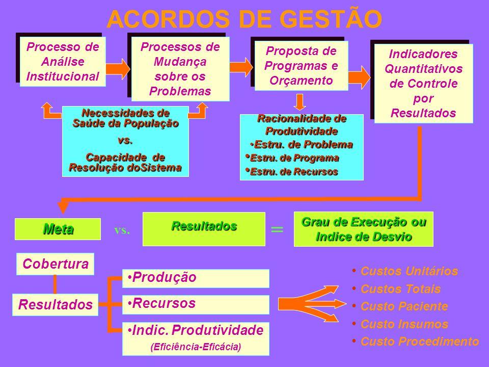 Indicadores Quantitativos de Controle por Resultados Racionalidade de Produtividade Estru.