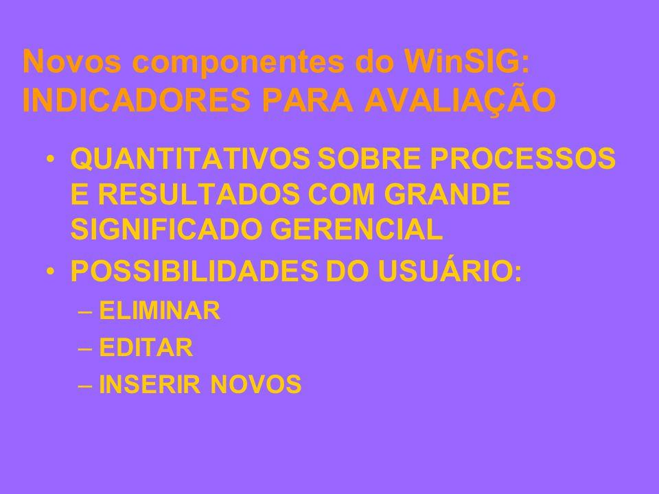 Novos componentes do WinSIG: INDICADORES PARA AVALIAÇÃO QUANTITATIVOS SOBRE PROCESSOS E RESULTADOS COM GRANDE SIGNIFICADO GERENCIAL POSSIBILIDADES DO USUÁRIO: –ELIMINAR –EDITAR –INSERIR NOVOS