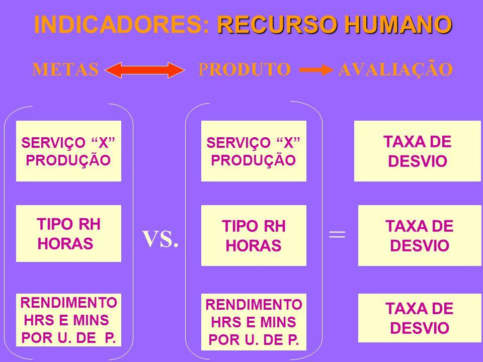 RECURSO HUMANO INDICADORES: RECURSO HUMANO METASPRODUTO AVALIAÇÃO TAXA DE DESVIO TAXA DE DESVIO TAXA DE DESVIO SERVIÇO X PRODUÇÃO TIPO RH HORAS RENDIMENTO HRS E MINS POR U.