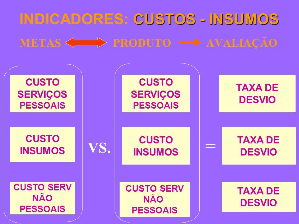CUSTOS - INSUMOS INDICADORES: CUSTOS - INSUMOS METAS PRODUTO AVALIAÇÃO TAXA DE DESVIO TAXA DE DESVIO TAXA DE DESVIO CUSTO SERVIÇOS PESSOAIS CUSTO INSUMOS CUSTO SERV NÃO PESSOAIS CUSTO SERVIÇOS PESSOAIS CUSTO INSUMOS CUSTO SERV NÃO PESSOAIS VS.