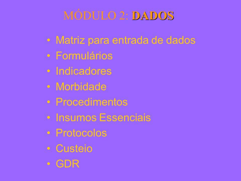 DADOS MÓDULO 2: DADOS Matriz para entrada de dados Formulários Indicadores Morbidade Procedimentos Insumos Essenciais Protocolos Custeio GDR