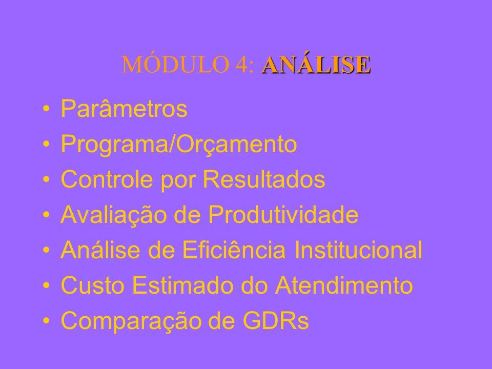 ANÁLISE MÓDULO 4: ANÁLISE Parâmetros Programa/Orçamento Controle por Resultados Avaliação de Produtividade Análise de Eficiência Institucional Custo Estimado do Atendimento Comparação de GDRs