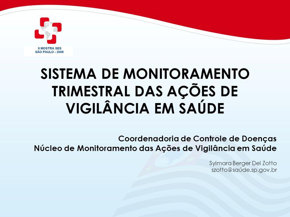 SISTEMA DE MONITORAMENTO TRIMESTRAL DAS AÇÕES DE VIGILÂNCIA EM SAÚDE Coordenadoria de Controle de Doenças Núcleo de Monitoramento das Ações de Vigilân
