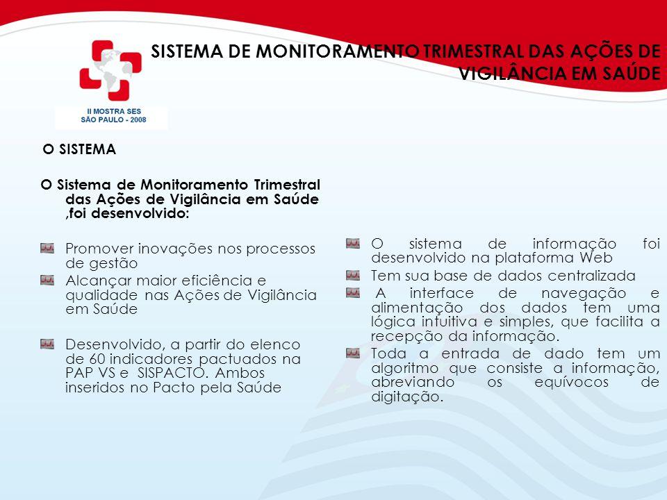 SISTEMA DE MONITORAMENTO TRIMESTRAL DAS AÇÕES DE VIGILÂNCIA EM SAÚDE O SISTEMA O Sistema de Monitoramento Trimestral das Ações de Vigilância em Saúde,
