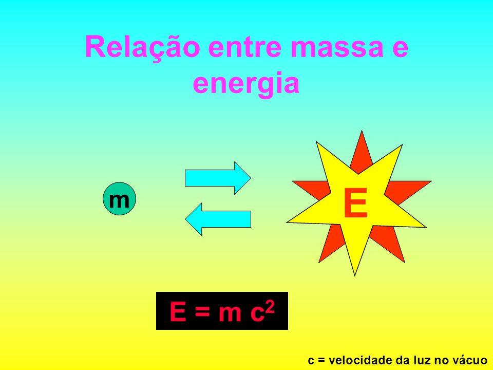 Relação entre massa e energia m E E = m c 2 c = velocidade da luz no vácuo