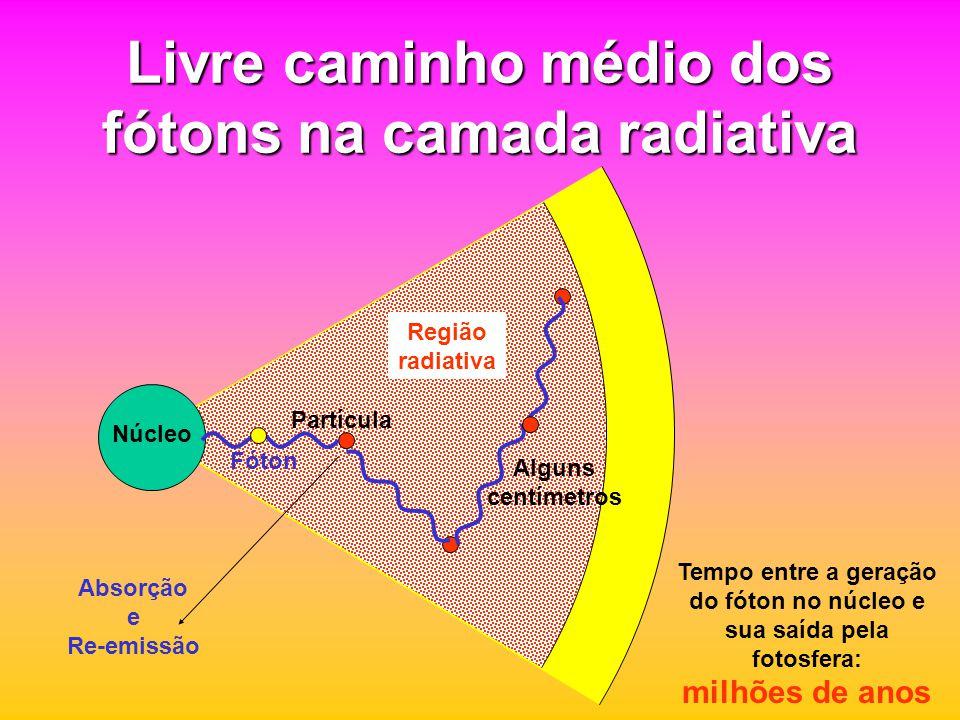 Livre caminho médio dos fótons na camada radiativa Partícula Fóton Absorção e Re-emissão Alguns centímetros Tempo entre a geração do fóton no núcleo e sua saída pela fotosfera: milhões de anos Núcleo Região radiativa