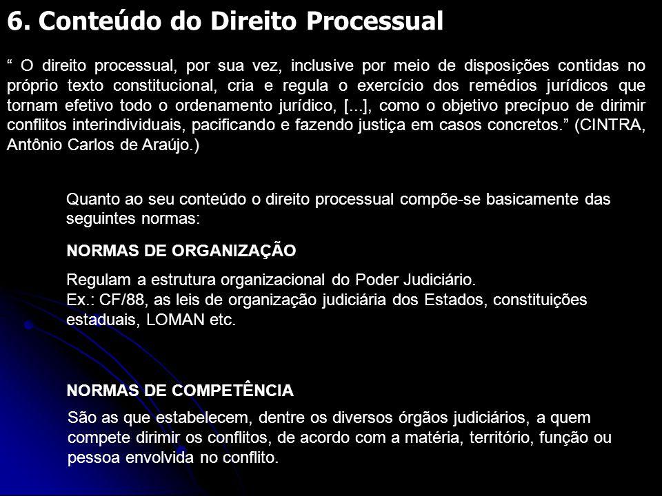 """6. Conteúdo do Direito Processual """" O direito processual, por sua vez, inclusive por meio de disposições contidas no próprio texto constitucional, cri"""