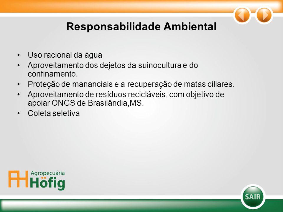 Responsabilidade Ambiental Uso racional da água Aproveitamento dos dejetos da suinocultura e do confinamento. Proteção de mananciais e a recuperação d