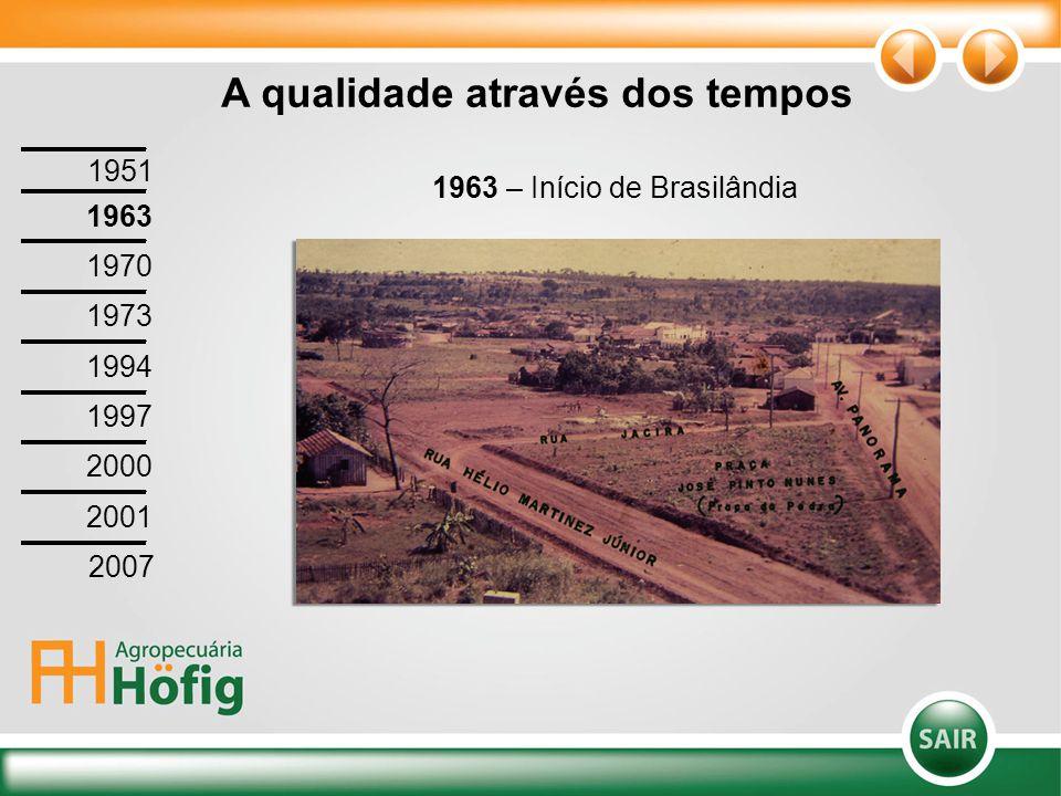 1963 – Início de Brasilândia A qualidade através dos tempos 1951 1963 1970 1973 1994 1997 2000 2001 2007