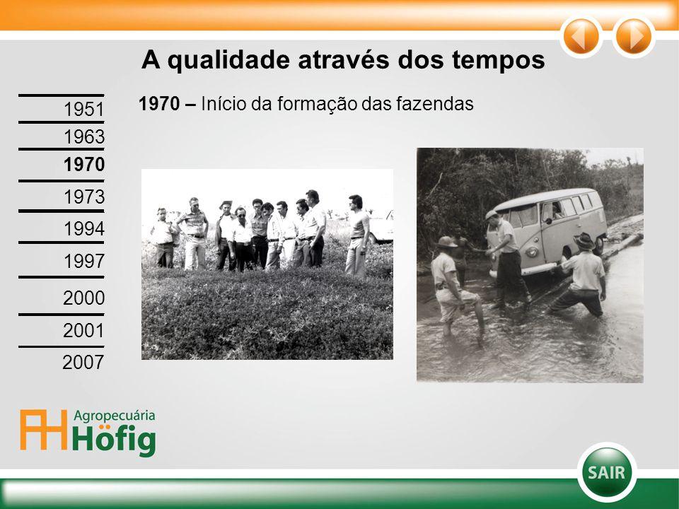 1970 – Início da formação das fazendas A qualidade através dos tempos 1951 1963 1970 1973 1994 1997 2000 2001 2007