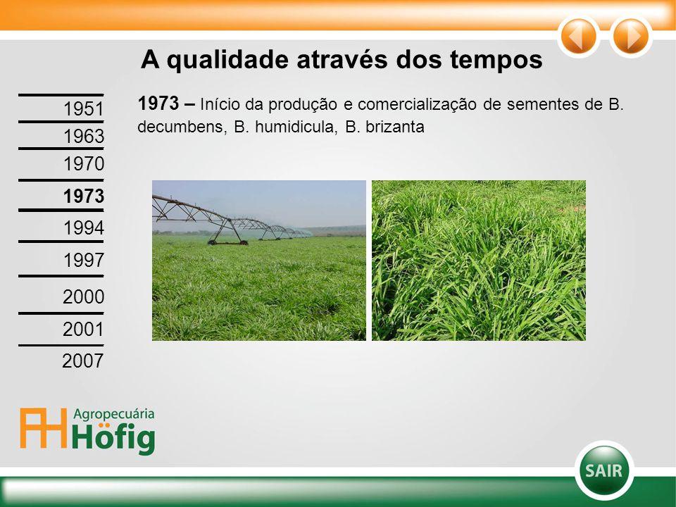 1973 – Início da produção e comercialização de sementes de B. decumbens, B. humidicula, B. brizanta A qualidade através dos tempos 1951 1963 1970 1973