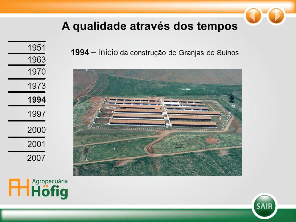 A qualidade através dos tempos 1994 – Início da construção de Granjas de Suinos 1951 1963 1970 1973 1994 1997 2000 2001 2007