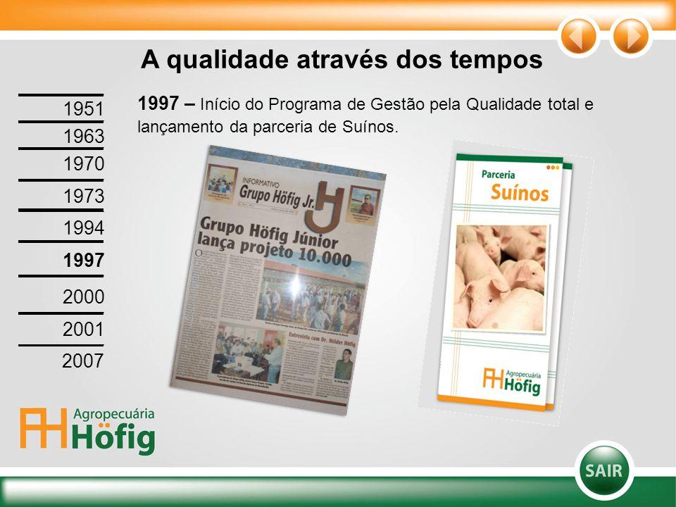 1997 – Início do Programa de Gestão pela Qualidade total e lançamento da parceria de Suínos. A qualidade através dos tempos 1951 1963 1970 1973 1994 1