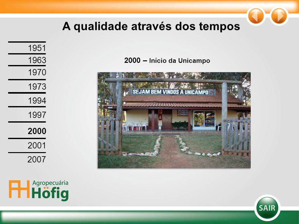 A qualidade através dos tempos 2000 – Início da Unicampo 1951 1963 1970 1973 1994 1997 2000 2001 2007