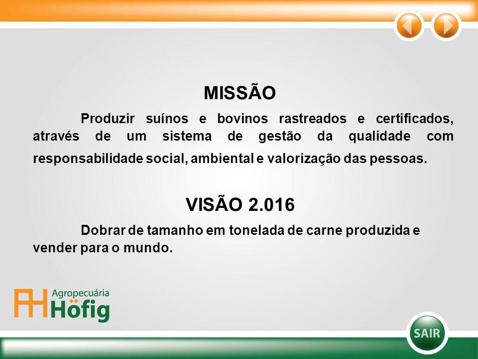 MISSÃO Produzir suínos e bovinos rastreados e certificados, através de um sistema de gestão da qualidade com responsabilidade social, ambiental e valo