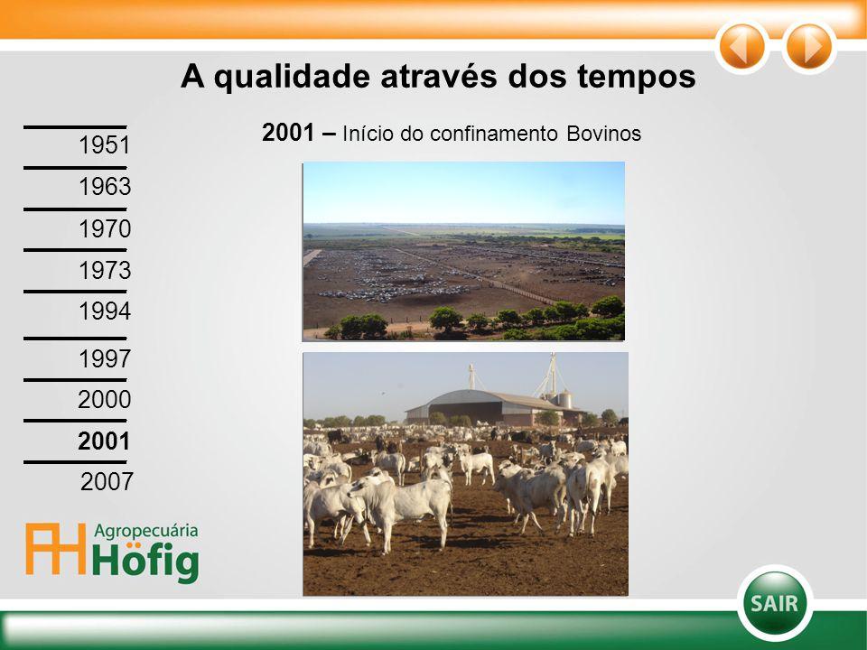 2001 – Início do confinamento Bovinos A qualidade através dos tempos 1951 1963 1970 1973 1994 1997 2000 2001 2007