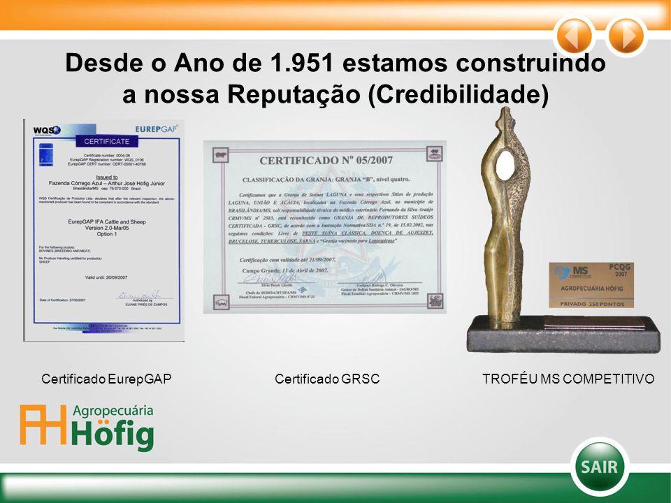 Desde o Ano de 1.951 estamos construindo a nossa Reputação (Credibilidade) Certificado EurepGAPCertificado GRSCTROFÉU MS COMPETITIVO
