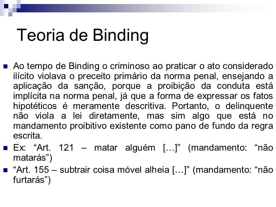 Teoria de Binding Ao tempo de Binding o criminoso ao praticar o ato considerado ilícito violava o preceito primário da norma penal, ensejando a aplica