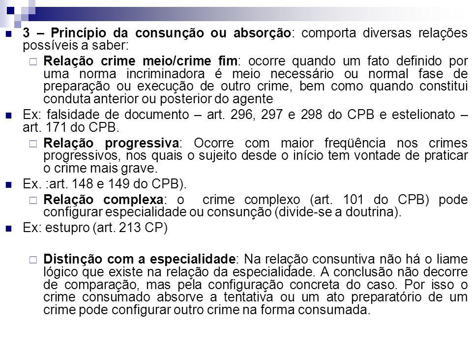 3 – Princípio da consunção ou absorção: comporta diversas relações possíveis a saber:  Relação crime meio/crime fim: ocorre quando um fato definido p