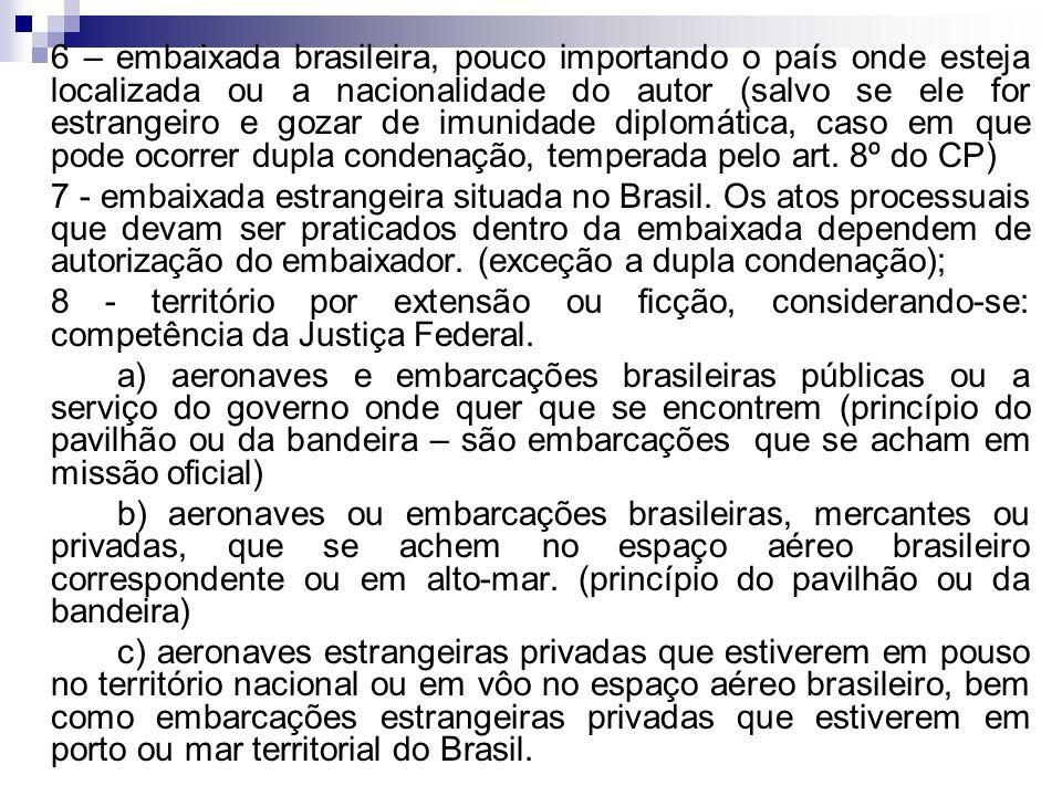 6 – embaixada brasileira, pouco importando o país onde esteja localizada ou a nacionalidade do autor (salvo se ele for estrangeiro e gozar de imunidad