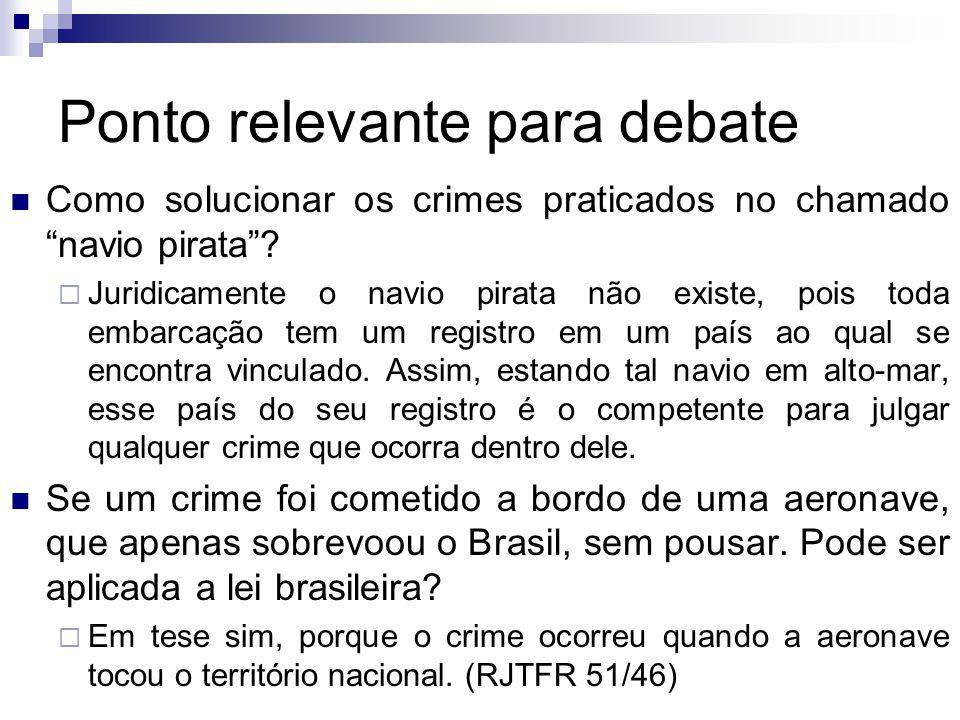 """Ponto relevante para debate Como solucionar os crimes praticados no chamado """"navio pirata""""?  Juridicamente o navio pirata não existe, pois toda embar"""