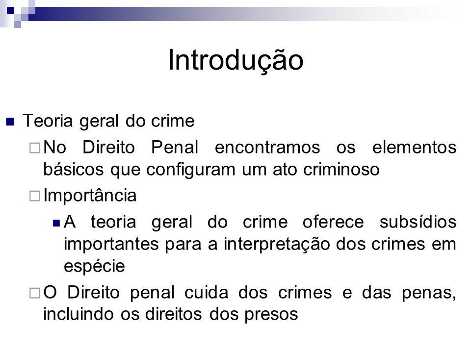 Introdução Teoria geral do crime  No Direito Penal encontramos os elementos básicos que configuram um ato criminoso  Importância A teoria geral do c