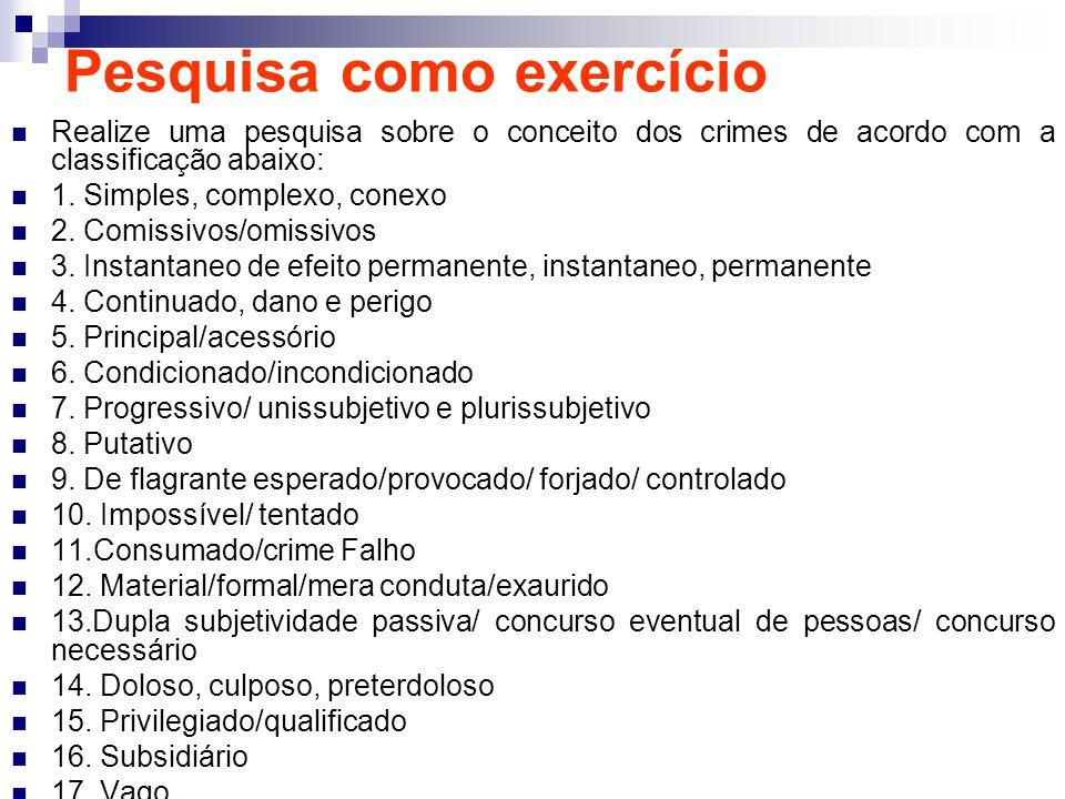 Pesquisa como exercício Realize uma pesquisa sobre o conceito dos crimes de acordo com a classificação abaixo: 1. Simples, complexo, conexo 2. Comissi