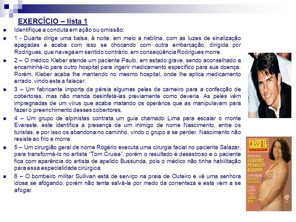 EXERCÍCIO – lista 1 Identifique a conduta em ação ou omissão: 1 - Duarte dirige uma balsa, à noite, em meio a neblina, com as luzes de sinalização apa