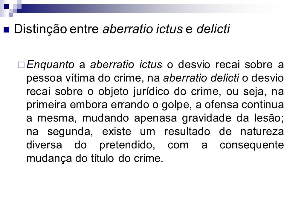 Distinção entre aberratio ictus e delicti  Enquanto a aberratio ictus o desvio recai sobre a pessoa vítima do crime, na aberratio delicti o desvio re