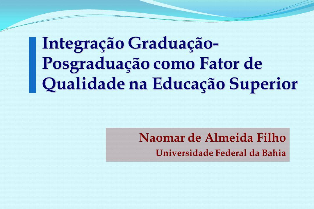 Integração Graduação- Posgraduação como Fator de Qualidade na Educação Superior Naomar de Almeida Filho Universidade Federal da Bahia