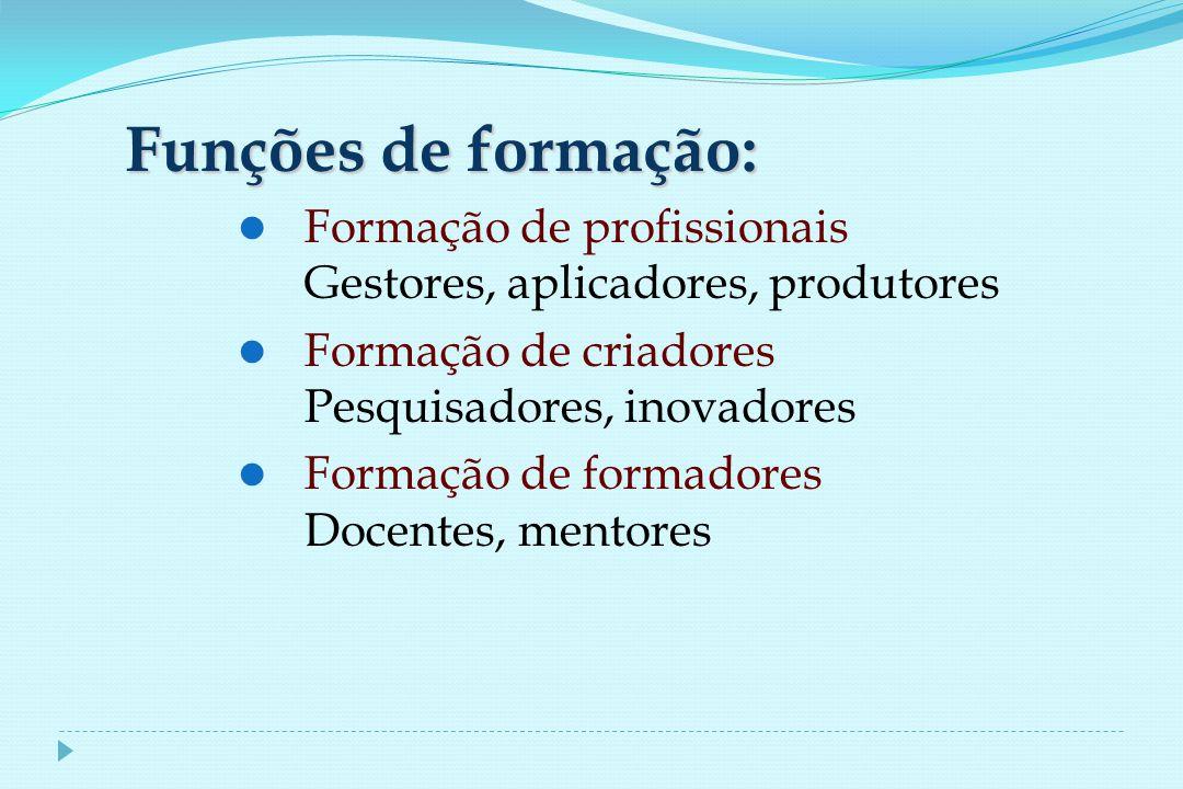 Funções de formação: Formação de profissionais Gestores, aplicadores, produtores Formação de criadores Pesquisadores, inovadores Formação de formadores Docentes, mentores