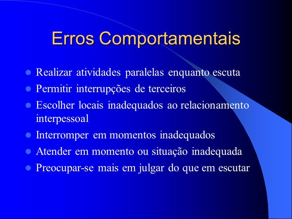 Erros Comportamentais Realizar atividades paralelas enquanto escuta Permitir interrupções de terceiros Escolher locais inadequados ao relacionamento i