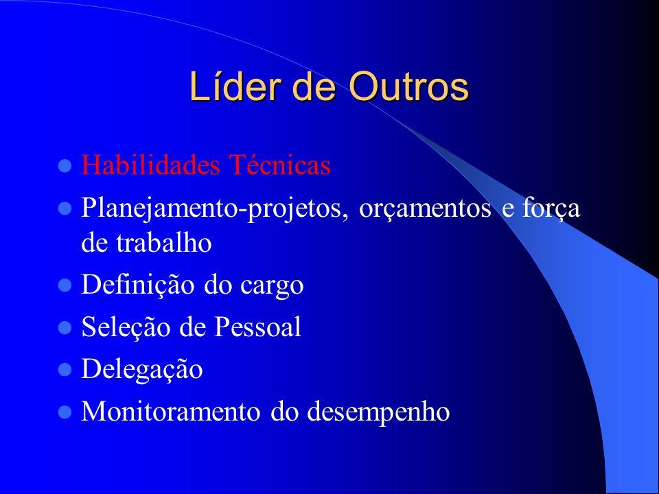 Líder de Outros Habilidades Técnicas Planejamento-projetos, orçamentos e força de trabalho Definição do cargo Seleção de Pessoal Delegação Monitoramen