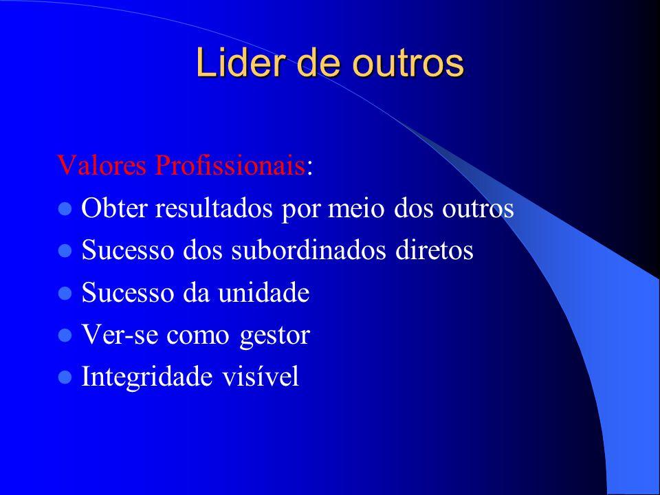 Lider de outros Valores Profissionais: Obter resultados por meio dos outros Sucesso dos subordinados diretos Sucesso da unidade Ver-se como gestor Int