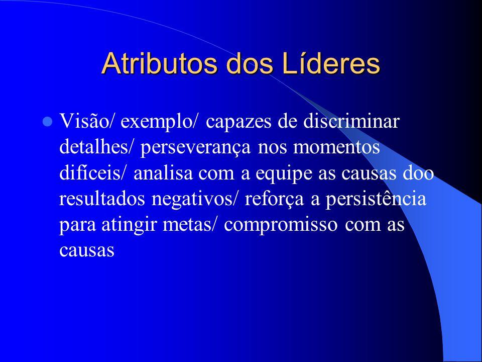 Atributos dos Líderes Visão/ exemplo/ capazes de discriminar detalhes/ perseverança nos momentos difíceis/ analisa com a equipe as causas doo resultad