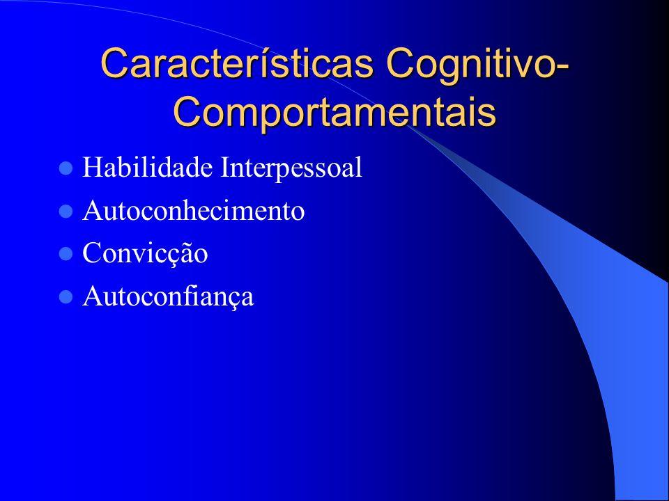 Características Cognitivo- Comportamentais Habilidade Interpessoal Autoconhecimento Convicção Autoconfiança