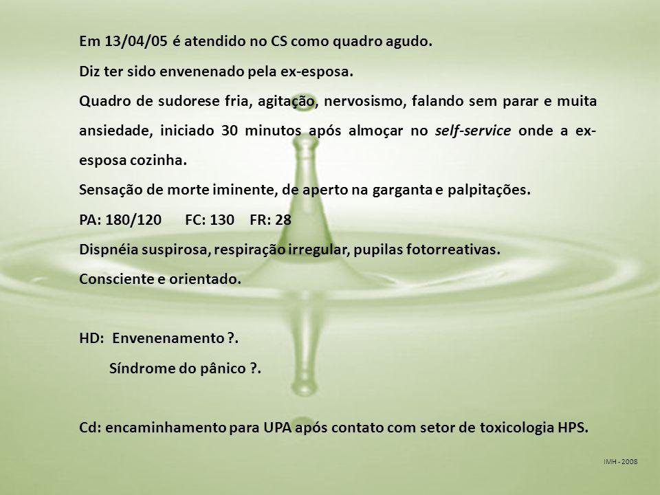 IMH - 2008 Em 13/04/05 é atendido no CS como quadro agudo.