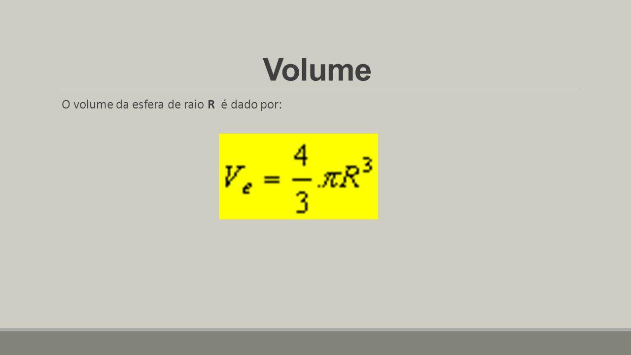 Volume O volume da esfera de raio R é dado por: